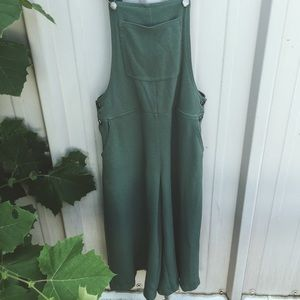 Green Flowy Overalls